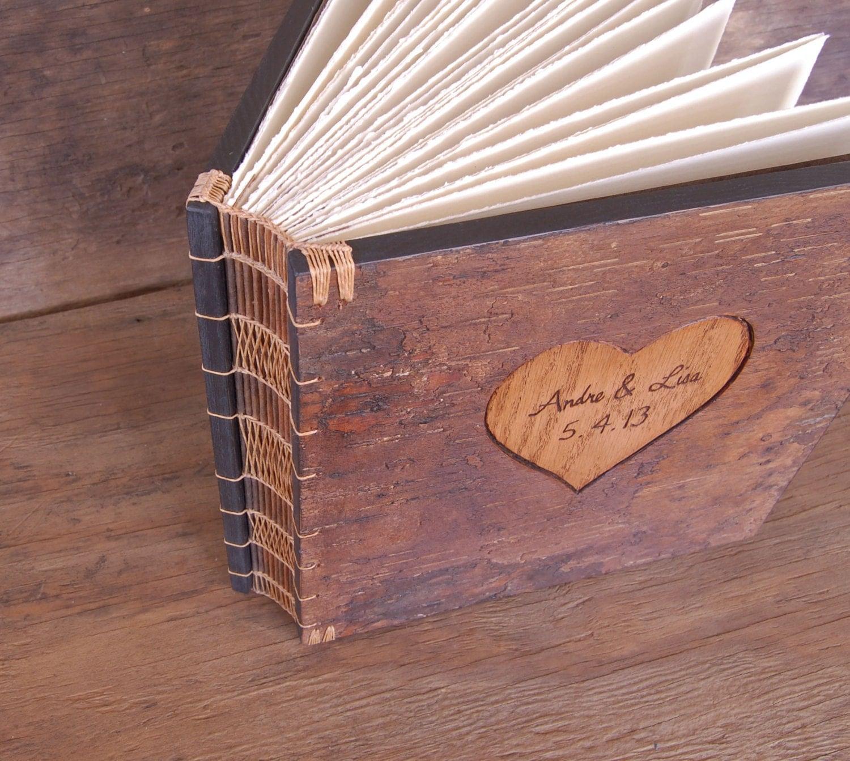 Wood Covered Book ~ Wedding photo album unique rustic wood book tree bark cover