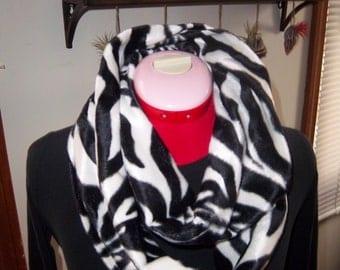 Zebra Faux Fur Infinity Scarf, Super Soft & Warm- Velboa Plush fabric