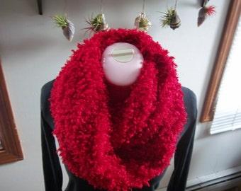 Red Silky Furry Fleece Infinity Scarf, Super Soft & Warm