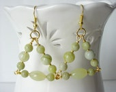 Celery Green Triangle Dangle Earrings, Statement Earrings, Semiprecious Lemon Jasper, Jade, Drop Earrings