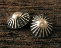 ARTISAN Sterling Silver Buttons - Handcrafted Clasps - 10.75mm - 2 Small Fluted Round - BT23