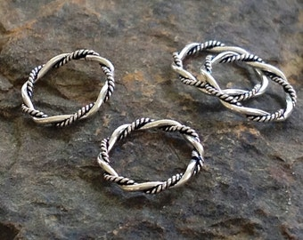 Sterling Silver Twisted Jump Rings - 10mm Oxidized with a Double Twist - 10 Circle Links - L54