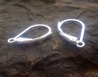 Sterling Silver Earwires -  SALE 5% off 10 pair of  Lever Back Earrings  - 10mm x 17mm 21 Gauge -  E6a
