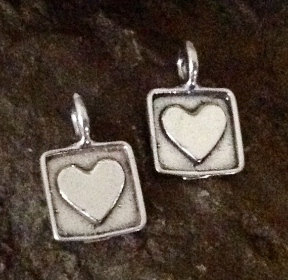 Sterling Silver Heart Charms - 2 Picture Perfect Framed Hearts - C104