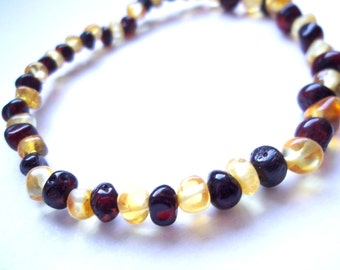 Cherry and Lemon  colour  Genuine BALTIC  AMBER  BRACELET  7.1 inches.