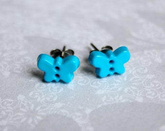 Butterfly Earrings, Small Blue Button Post Earrings, Hypoallergenic Titanium Posts