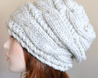 Women Hat Slouchy Hat Slouchy Beanie Cable Hand Knit Winter  Women Teen CHOOSE COLOR Linen Ivory Off White Chunky Hand Knit Gift