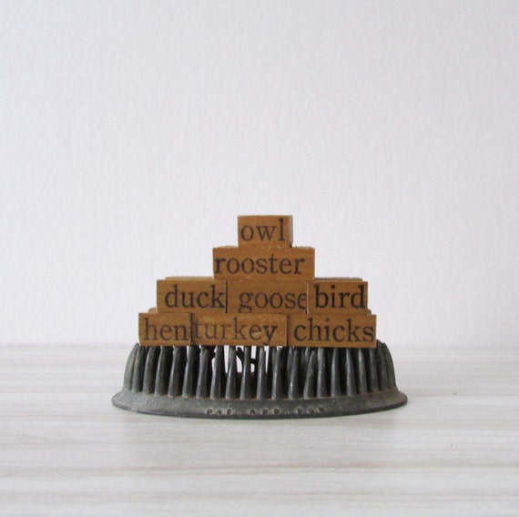 antique bird wooden word letter rubber stamps // set of 8 // free gift wrapping