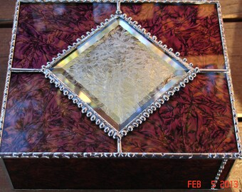 Van Gogh Glass Red & Copper Large Jewelry Box