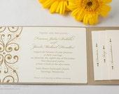 Gold Leaf Shimmer Metallic or Matte Crystal Pocket Folders Folder Wedding Invitations Invitation Invites Invite Sample