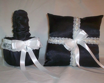 Black Satin With White Beaded Lace Trim Flower Girl Basket And Ring Bearer Pillow Set 4
