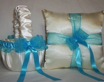 Ivory Cream Satin With Turquoise Blue Ribbon Trim Flower Girl Basket And Ring Bearer Pillow Set 1