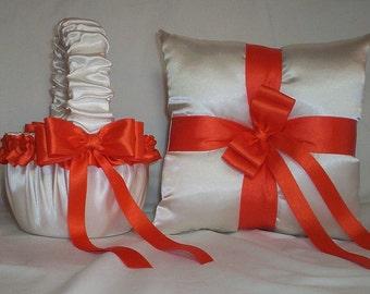 Ivory Cream Satin  With Orange Ribbon Trim Flower Girl Basket And Ring Bearer Pillow