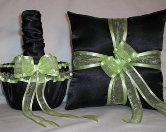 Black Satin With Light Green Mint (Lime) Trim  Flower Girl Basket And Ring Bearer Pillow