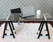 Miniature IKEA Inspired VIKA Desk for 1:12 Scale Modern Dollhouse in Black & White Acrylic
