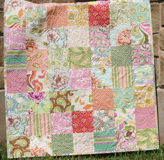 Paisley Baby Quilt Girl Nursery Bedding Fresh Cut Pink