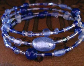 Light Blue Glass Beaded Memory Wire Bracelet
