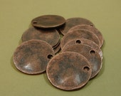 10 pcs- Antiqued Copper Plated Wavy Disc Stamping Blanks Charms Round  Punched Hole.