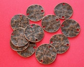 10pcs- Antique Copper Plated   Color Hammered Round  Disk Connector 20mm Two Holes.