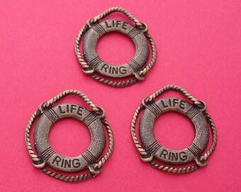 6pcs-Life Preserver Saver Charms Antique Bronze 2 Sided