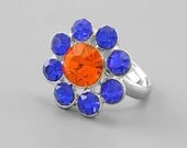 Blue and Orange  Crystal Daisy Ring for Game Day - Adjusts to fit