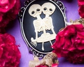 Skeleton Twins Cameo Necklace