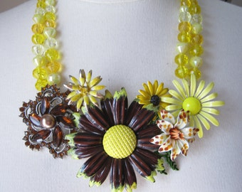 Statement Necklace, Vintage, Enamel Flower Necklace, Flower Power, Yellow, Brown, 1960s, Topaz, Amber, Multi Strand, OOAK - Buttered Toast