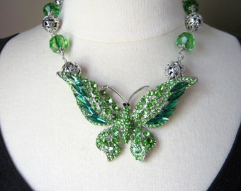 Vintage Rhinestone Butterfly Statement Necklace, Upcycled, Emerald Green Reclaimed Silver, Jennifer Jones, Collectible OOAK - Butterfly Envy
