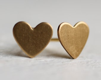 Tiny Heart Earrings ... Gold Brass Love Studs