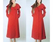 WoozWass Vintage Designer Cut Cherry Red Wool Big Collar Coat