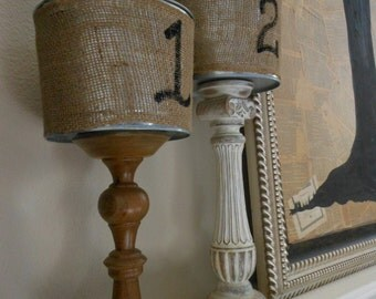 2 Buckets wrapped in Burlap painted with a number or initial on  5 Qt Handpainted BUCKETS, shabby chic buckets