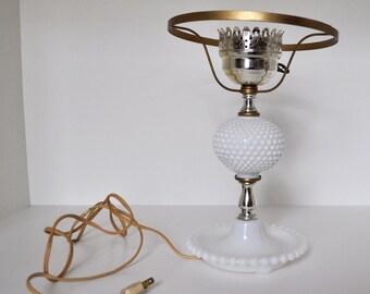 Vintage White Hobnail Table Lamp