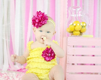 Custom Infant and Toddler Lace Romper Rose brooch and headband set You Choose Colors NB-4t FREE SHIPPING