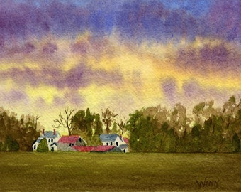Windsor Sunset - FREE U.S. SHIPPING - Original Watercolor