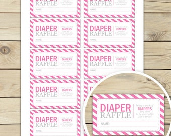 Hot Pink Baby Shower Diaper Raffle Tickets - Instant Download - Baby Shower Diaper Raffle Card - Insert Cards - Baby Shower Games Printable