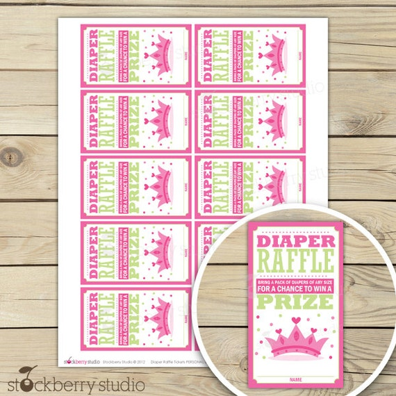 Wonderful Items Similar To Princess Baby Shower Diaper Raffle Tickets   Pink And  Green Diaper Raffle Cards   Instant Download   Girl Baby Shower Games    Insert Cards ...