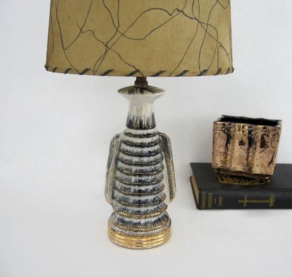Mid Century Table Lamp Ceramic Gold Black Stripe Desk Bedroom