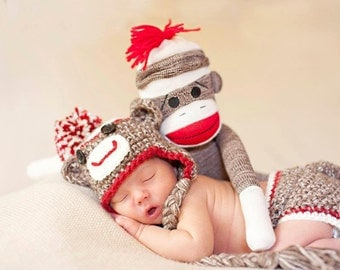 Sock Monkey Set for Newborn Photography