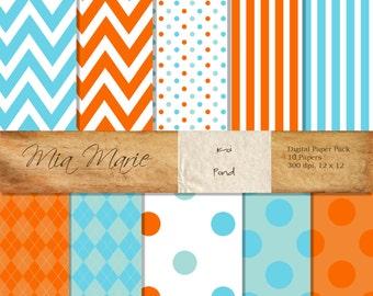 INSTANT DOWNLOAD - Digital Papers Scrapbooking Backgrounds Orange, Blue, Stripes, Chevron, Polka Dots, Swiss Dots Baby Printable 12x12 jpg
