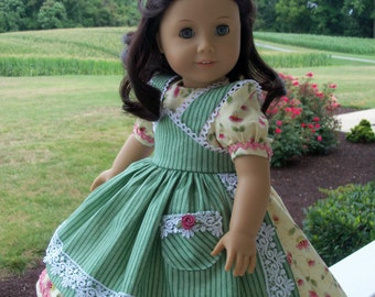 """PRINTED Sewing Pattern for American Girl Marie Grace, Cecile or Caroline: 1800s Apron Gown/ Sewing Pattern for 18"""" Dolls"""