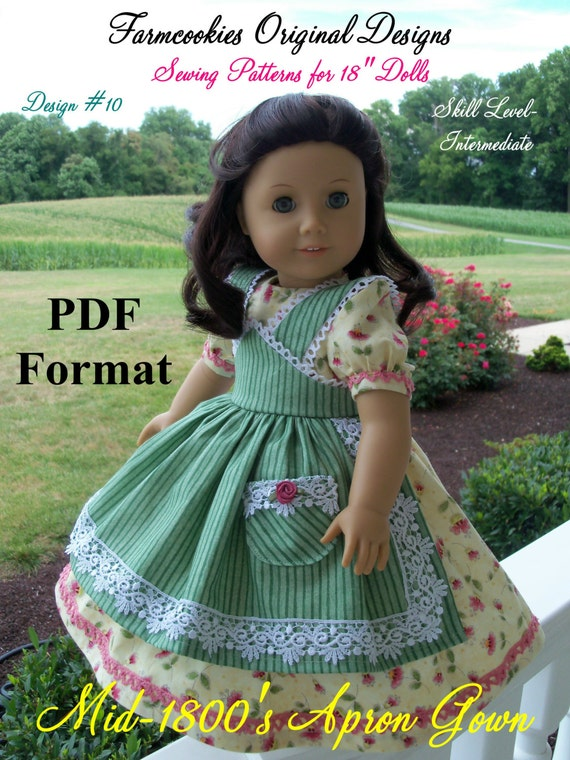 "PDF Sewing Pattern for American Girl Marie Grace, Cecile or Caroline: Mid-1800s Apron Gown/ Pattern for 18"" Dolls"