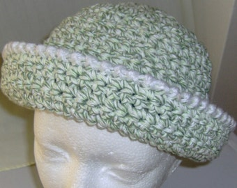 "Crocheted cloche hat for women or teen fit head size 21-23"" around."