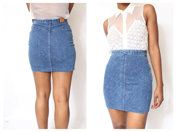 Fitted Denim High waist Skirt size M 9/10