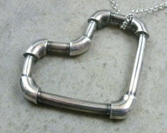 Lead Pipe Heart Neacklace- Steampunk Heart Fine Silver Pendant- Steampunk Heart Jewelry- Industrial Necklace- Love Jewelry- Heart Necklace