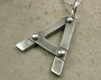 Industrial Initial Necklace Fine Silver- Personalized Jewelry- Letter Jewelry- Initial Jewellery- Personalized Necklace- Industrial Jewelry