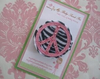 Girl hair clips - girl barrettes - peace sign hair clips