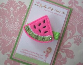 Girl hair clips - watermelon hair clips - girl barrettes - hair clippies