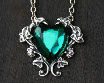 Emerald Green Heart Necklace