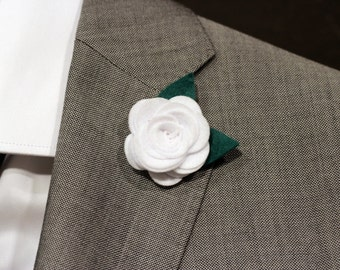 White classic wool felt rose boutonniere, flower pin for men, lapel flower, mens boutonniere