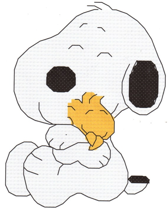 Baby Snoopy Hugging Woodstock Cross Stitch Pattern